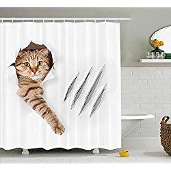 Cat Shower Curtains Animal Shower Curtain Cat Shower Curtain Bathroom Decor Sets