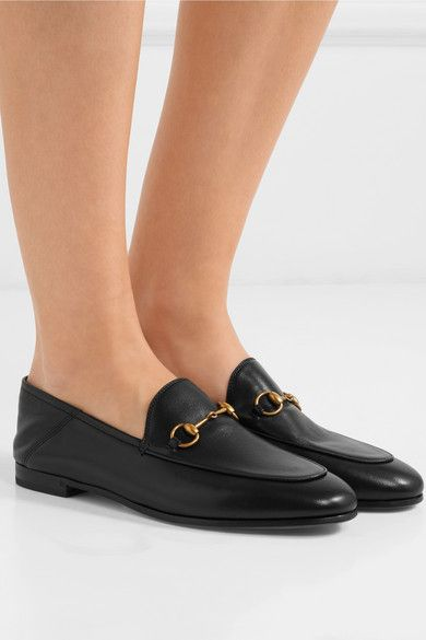 e3a12779a Gucci - Brixton Horsebit-detailed Leather Collapsible-heel Loafers - Black  | FEET | Heeled loafers, Gucci horsebit loafers, Gucci