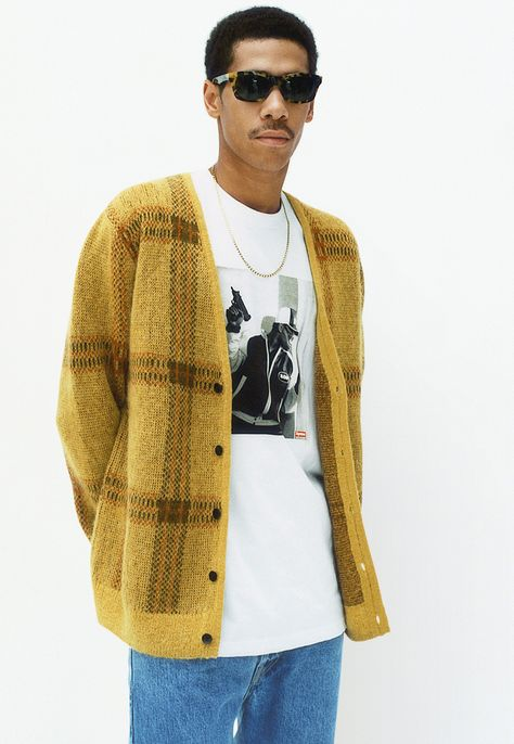 Men's Plaid Mohair Cardigan from Supreme Cardigan Outfits, Cardigan For Men, Traditional Fashion, Lookbook, Mens Fashion, Fashion Outfits, Streetwear Fashion, Street Wear, Men Street
