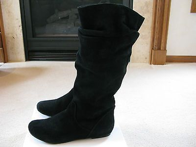 Steve Madden Womens P-TIAA Black Suede Leather Slouch Boots Size 9 ...