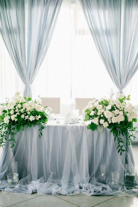 Dusty Blue Wedding Color Ideas for 2020 dusty blue sweetheart table decor