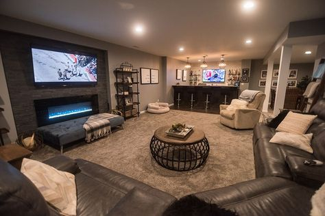 South Lyon, MI Cozy Farmhouse Style Finished Basement - Finished Basements Plus Small Basements, House, Family Room, Home, Basement Decor, Home Remodeling, New Homes, Basement Living Rooms, Basement Family Rooms