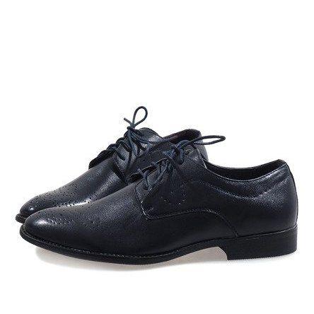Granatowe Eleganckie Polbuty D181502b Elegant Shoes Shoes Dress Shoes Men