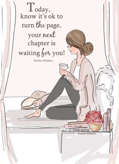 Wall Art - Art for Women  - Turn the Page- Fashion Illustration - - Art for Women - Inspirational Ar