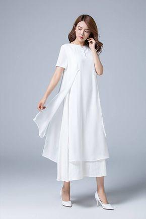 50++ Womens white linen dress info