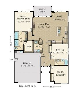 Mm 1853 Floor Plan Contemporary House Plans House Plans One Story House Plans