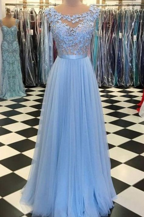 A-Line Lace Tulle Long Prom Dresses Formal Evening Dresses #bluepromdress #longformaldress #eveningdressesblue