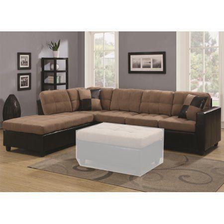 Simple Relax 1perfectchoice Mallory Living Room Reversible Sectional Sofa Tan Microfiber Pu Leather Base Lea Leather Sectional Sofas Home Decor Sectional Sofa