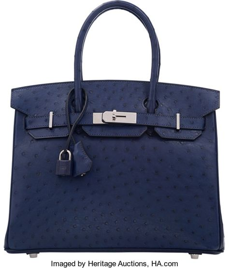 f0d451ddaa Hermes 30cm Blue Iris Ostrich Birkin Bag with Gold Hardware.