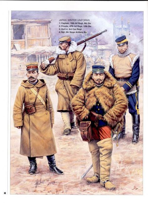 1905 c. artwork of the russian illustrator Andrei Karachtchouk showing japanese army officers and soldiers using winter uniforms during the russo-japanese war, the conflit that made japan an undisputed power in the far east.