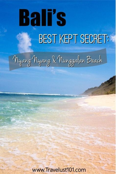 Bali Beaches | Bali Travel | Bali Guide | There are many beach destinations in Bali, but if you want to escape the crowds and walk along the longest stretch of pristine white sand beach, head to Uluwatu's Nyang Nyang beach and her sister beach, Nunggalan.   Check out this post for all the tips you need to discover this little piece of paradise!  #beautifuldestinations #balibeaches #bali #baliindonesia #hiddengems #wonderfulindonesia #southeastasia #paradise #whitesandbeach