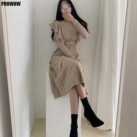24.84US $ 24% OFF One Piece Knitted Sweater Dress Korean Women Ruffled Waist Dresses 2020 Autumn Winter Women'S Sweater Knitt Dress Midi dress Dresses    - AliExpress