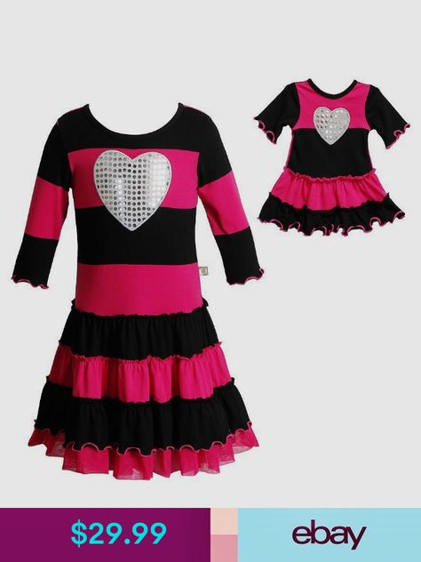 Dollie Me Girl 4 14 And Doll Matching Pink Striped Dress Clothes
