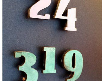 House Numbers Modern Copper Floating In Bright Or Brushed Antigoni 4 100mm High D House Numbers Modern House Number Modern House
