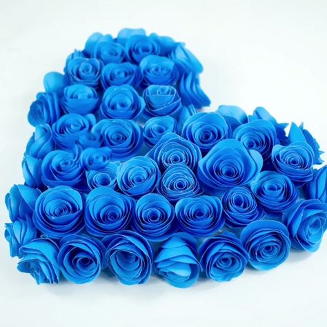 DIY Heart-shaped Bouquet of Blue Roses🌹