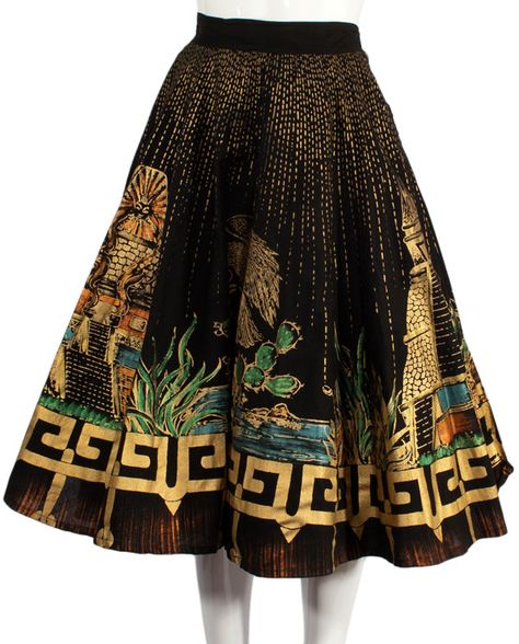 Aztec Temple Mexican Circle Skirt at ballyhoovintage.com