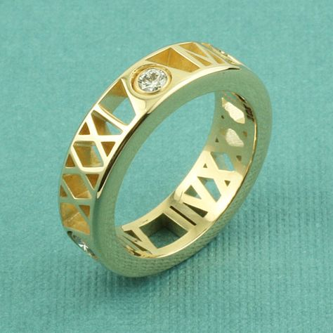 Roman Numeral Ring with Diamonds
