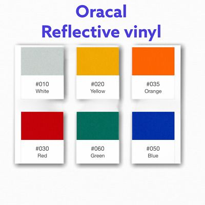6 Rolls 12 X 10 Ft Reflective Vinyl Color Adhesive Sign Usa Oracal Oralite In 2020 Oracal Vinyl Colors Reflective