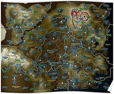 Zelda Botw Shrine Map Poster Zelda Map Zelda Breath Of