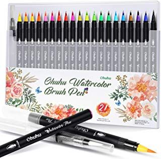 Ohuhu Watercolor Brush Markers Pen Ohuhu 20 Colors Water Based Drawing Marker Brushes W A Water Colori Coloring Books Watercolor Brush Pen Pen And Watercolor