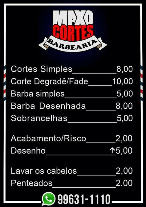 Tabela De Preço Em 2019 Barbearia Barbearia Torres E