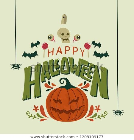 Happy Halloween Card Template Design With Cute Simple Cartoon Style Card Template Halloween Cards Happy Halloween