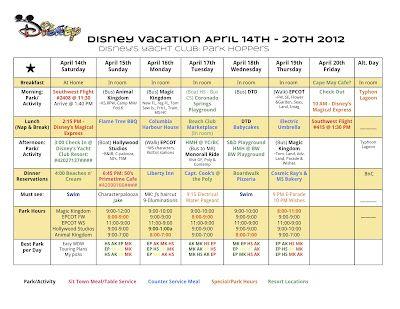 vacation agenda planner