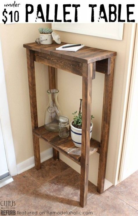 build a simple console table or end table for under 10 using old pallet wood link fixed to point to original blogger pinterest - Skinny Console Table