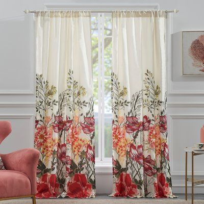 Barefoot Bungalow Meadow Floral Flower Semi Sheer Curtain Panels