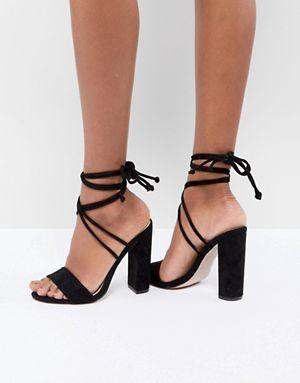 Black high heels, Tie up heels, Prom heels
