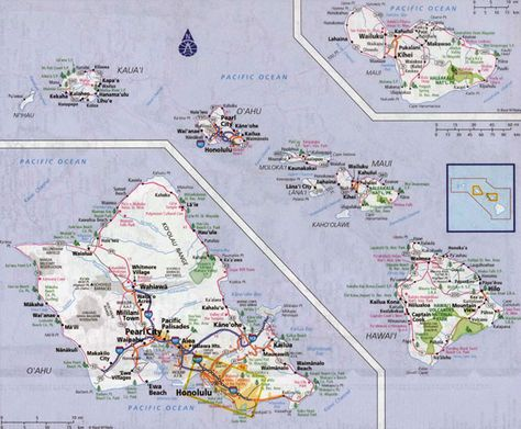 Hawaii Map Usa Large Detailed Road Map Of Hawaii Islands With - Road map of hawaii