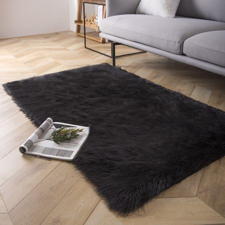 Phantoscope Deluxe Soft Faux Sheepskin Fur Series Decorative Indoor Area Rug 3 X 5 Feet Rectangle Black 1 Pack Walmart Com In 2020 Faux Fur Area Rug Area Rugs Chair Seat Cushion