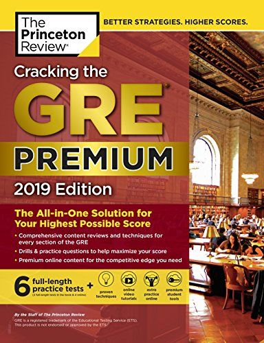 Books Cracking The Gre Premium Edition With 6 Practice Tests 2019