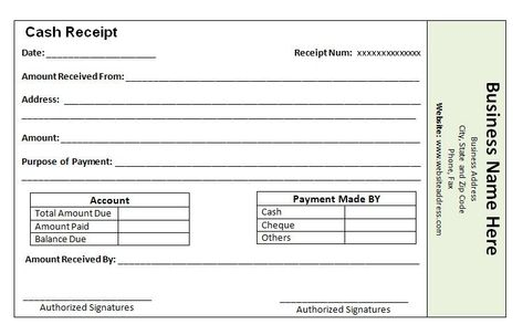 18 payment receipt templates free sample example format Template - cash receipt voucher word format