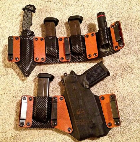 holster system via BlackPoint Tactical. Love the idea of the interlock panels to combine holsters into one unit. Would be great for competition or duty rig. Tactical Survival, Tactical Gear, Survival Gear, Survival Rifle, Tactical Knife, Tactical Equipment, Kydex Holster, Leather Holster, Rifles