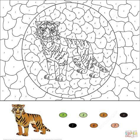 Saber Toothed Tiger Color by Number | Free Printable ...