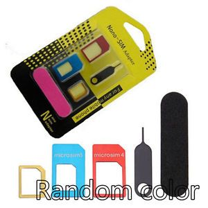 A Kit 5 En 1 Adaptateur Carte Sim Micro Nano Sim Iphone Samsung