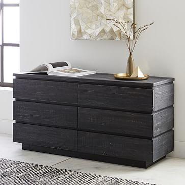 Emmerson Modern Reclaimed Wood 6 Drawer Dresser Ink Black Dressers For Sale Modern Chest Of Drawers Furniture