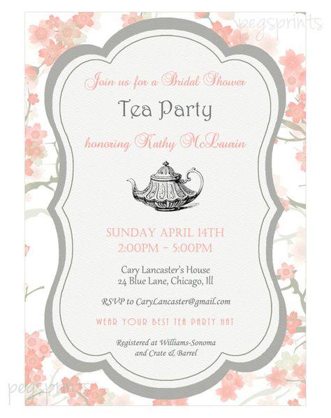 Bridal Shower High Tea Invitation Printable by pegsprints on Etsy