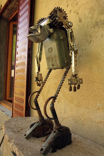 089 Walking Stride on a Candy Bowl or Key Holder Welded Metal Robot Zombie Sculpture