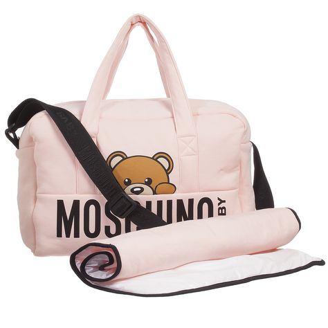 3a60d47d94d8 Pink padded jersey changing bag by Moschino Baby. Lined in wipe clean  fabric