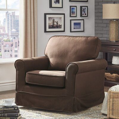 Three Posts Schumann Swivel Armchair Upholstery Color Brown In 2020 Swivel Chair Living Room Brown Leather Recliner Chair Overstuffed Chairs