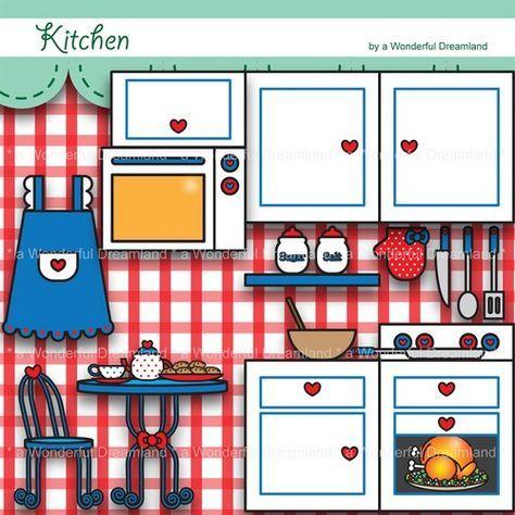 Printable Digital Clipart Clip Art Pdf Png File Kitchen Happy Cookin Paper Dolls Paper Doll House Clip Art