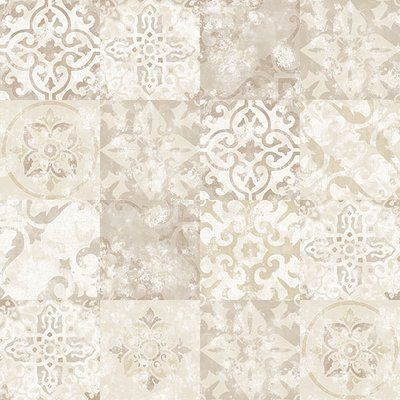 Galerie Wallcoverings Tile Effect 33 L X 21 W Wallpaper Roll Color Beige In 2020 Wall Wallpaper Wallpaper Roll Kitchen Wallpaper