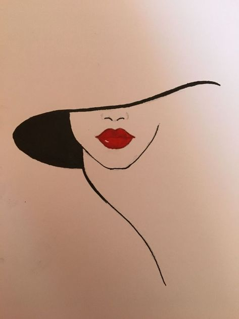Hat and red lips #LipPencilNatural  #Hat #LipPencilNatural #lips #red