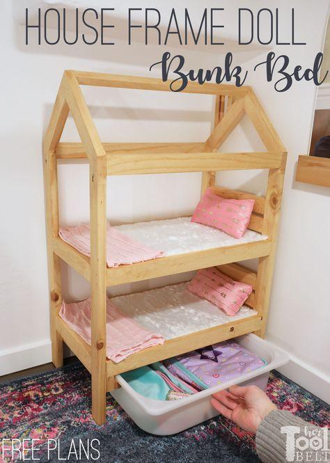 House frame doll bunk bed plans - her tool belt Cosas American Girl, American Girl Doll Bed, 18 Doll Bed, Doll Bunk Beds, Baby Doll Furniture, Kids Furniture, Furniture Online, Bedroom Furniture, Furniture Design
