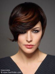 Short hair styled with an outward flip