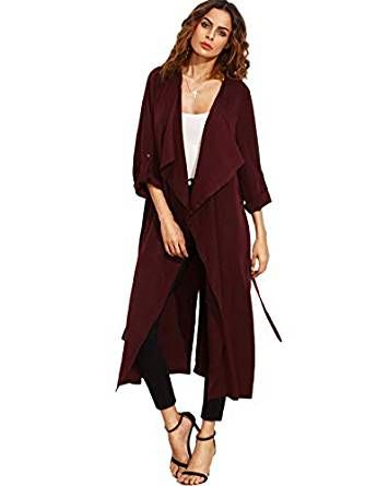 Milumia Womens Elegant Belted Long Sleeve Jacket Double Breasted Trench Coat Outwear