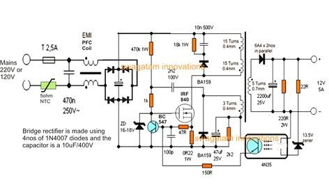 Mobile Charger Circuit Diagram Without Transformer