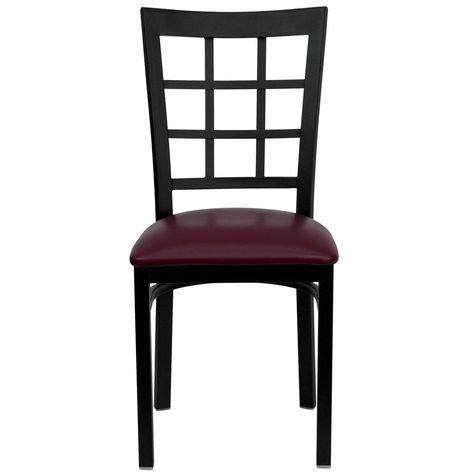 Flash Furniture Hercules Series Black Window Back Metal Restaurant